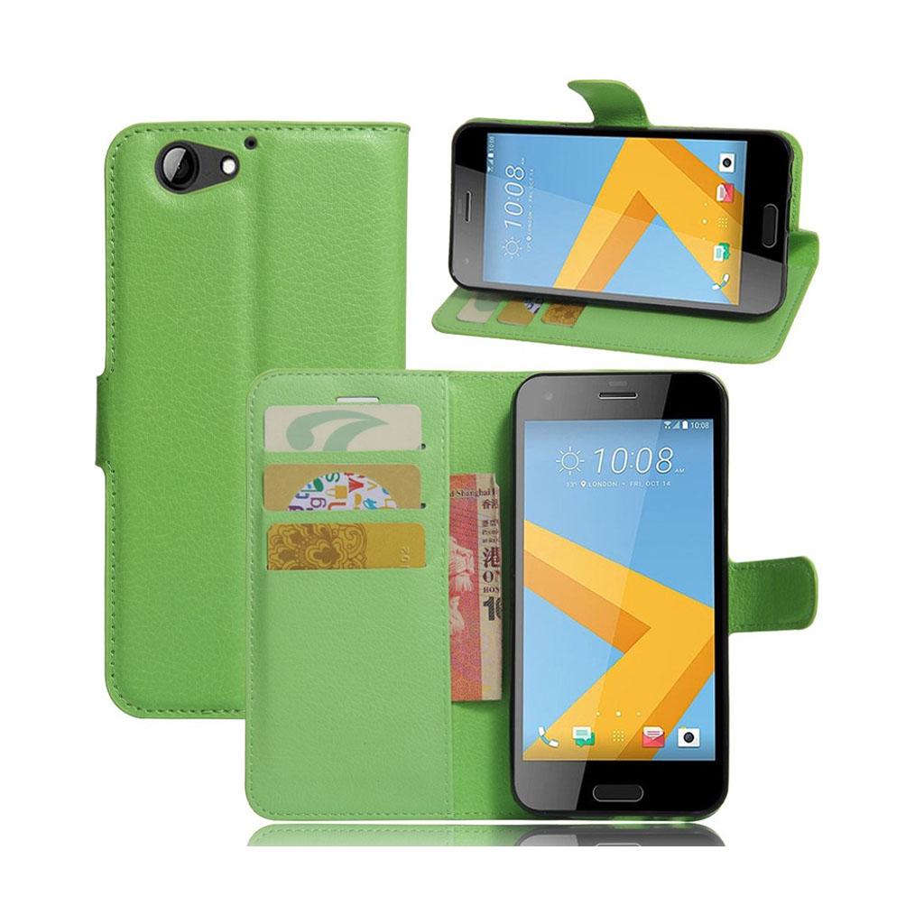 HTC A9s stilfuldt læder-etui m. kortholder - Grøn