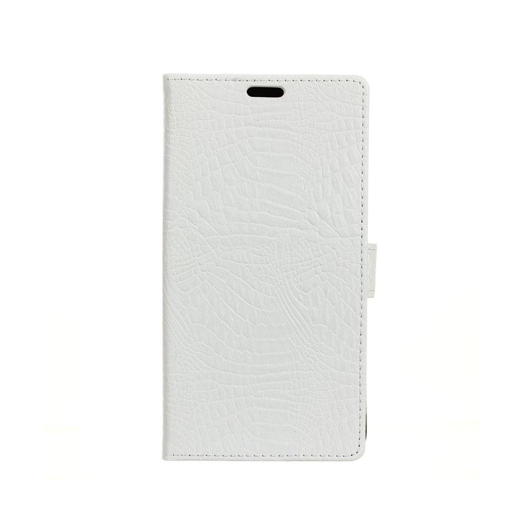 HTC 10 Evo stilfuldt læder-etui m. krokodilletekstur - Hvid