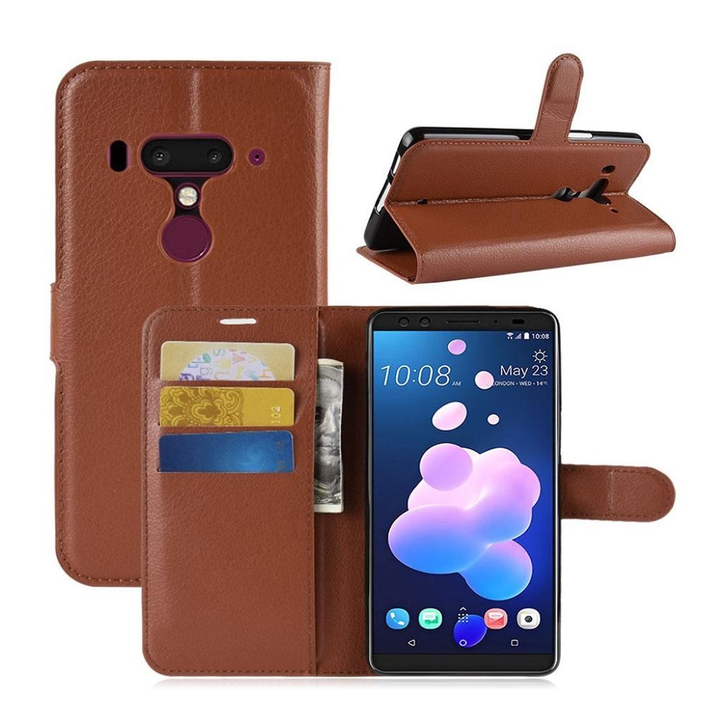HTC U12 Plus mobiletui i lædermateriale med Litchi overflade samt lommer og stativ - Brun