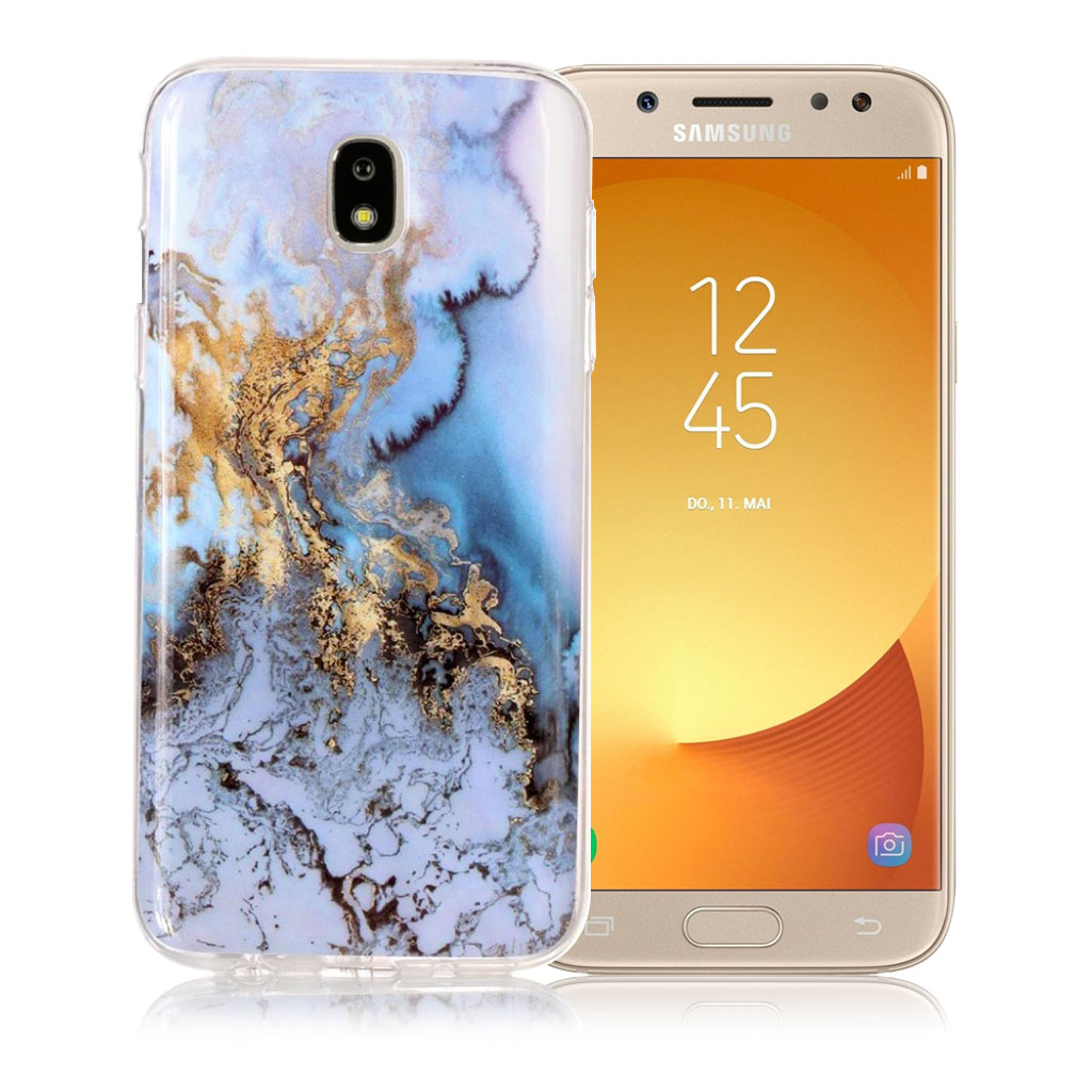 Samsung Galaxy J5 (2017) marble pattern jelly case - Gold / Blue