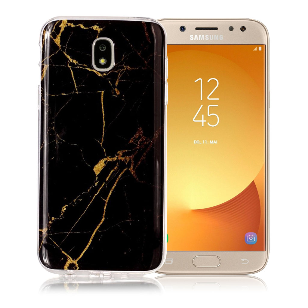 Samsung Galaxy J5 (2017) marble pattern jelly case - Black / Gold