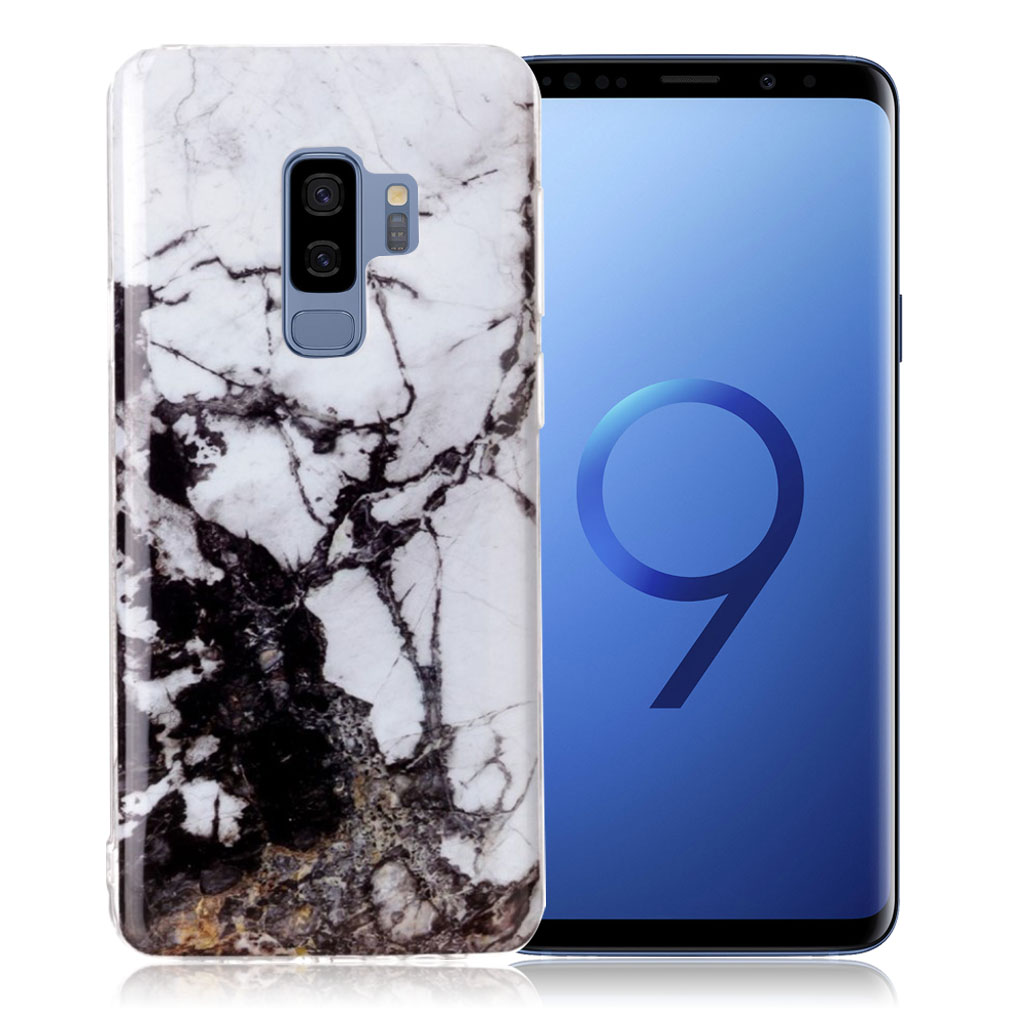Samsung Galaxy S9 Plus pattern printing soft case - Black / White Marble
