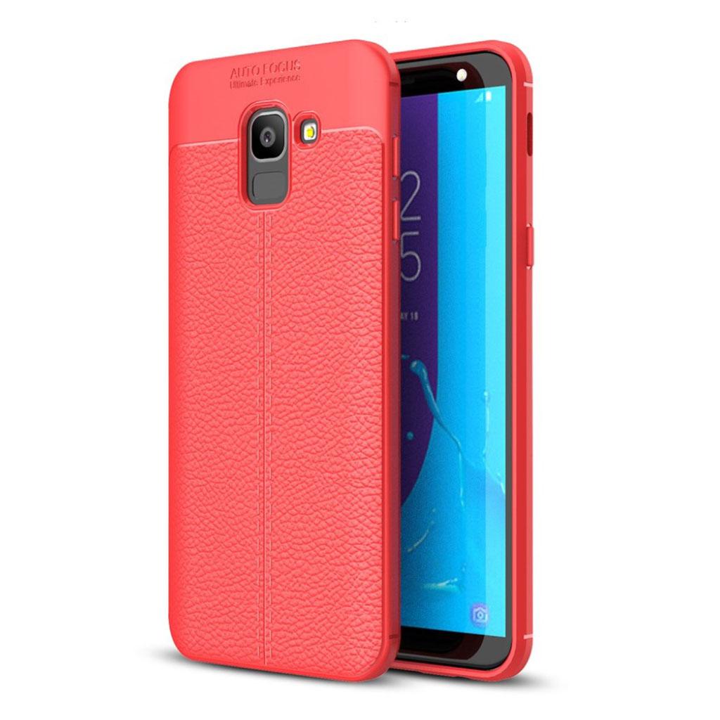 Samsung Galaxy J6 mobiletui i plastik- og silikone med smuk tekstureret Litchi overfalde - Rød