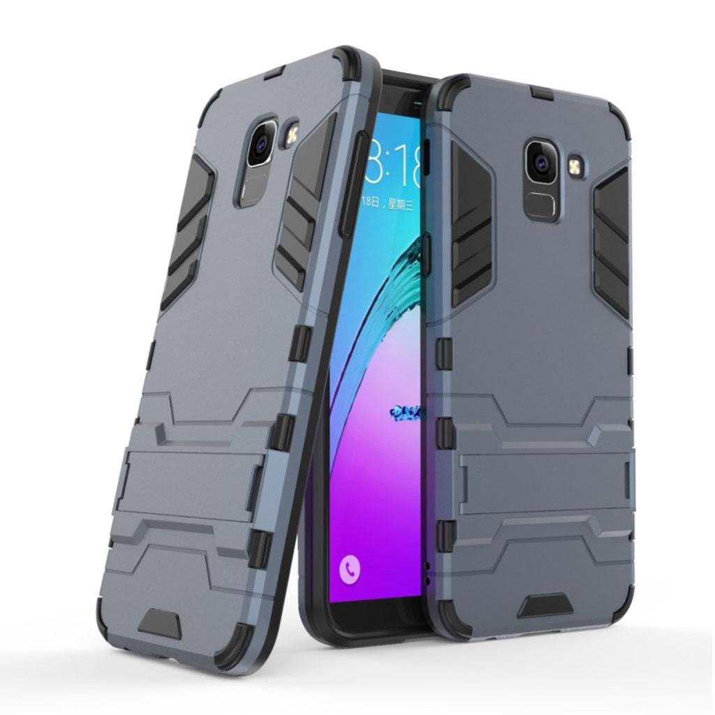 Samsung Galaxy J6 (2018) etui i kombimaterialer med hård plastikskal og indbygget stativ - Mørkeblå