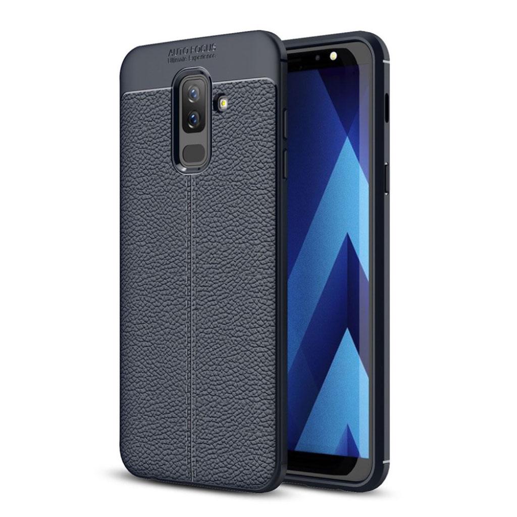 Samsung Galaxy J8 (2018) beskyttelsesetui i silikone- og plastik med Litchi tekstur - Mørkeblå