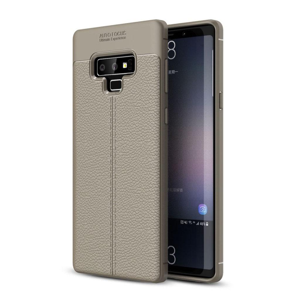 Samsung Galaxy Note9 beskyttelsesetui i silikone med smuk Litchi tekstur - Grå