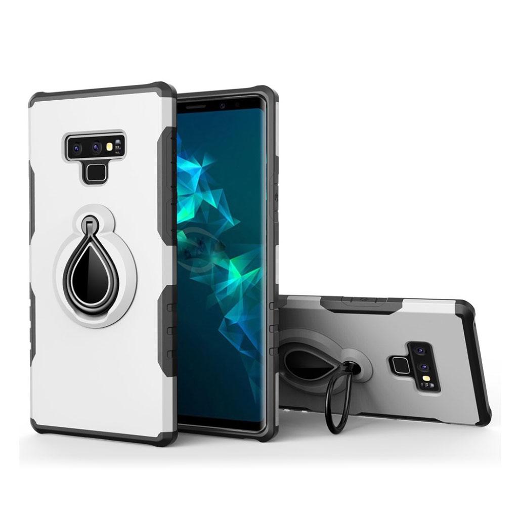 Image of   Samsung Galaxy Note9 mobiletui i kombi materialer med indbygget stativ - Hvid