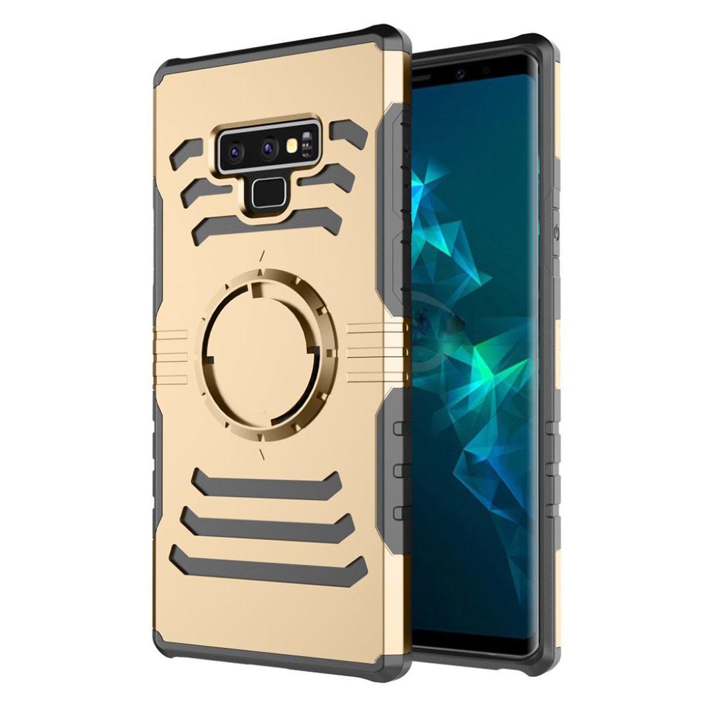Samsung Galaxy Note9 beskyttelsesetui i hybrid materialer med stødsikker overfalde - Guld