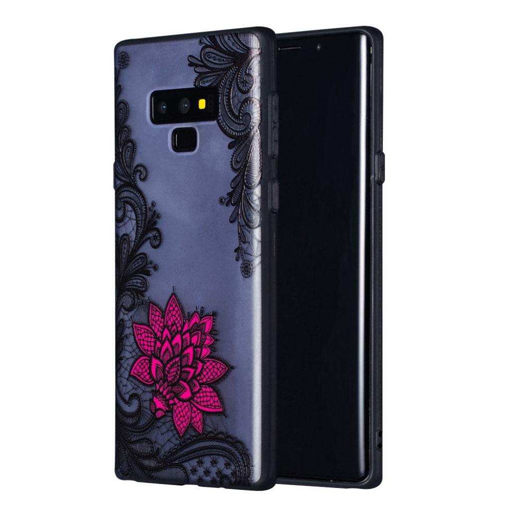 Samsung Galaxy Note9 mobiletui i kombimaterialer med præget mønster - Lille rød blomst