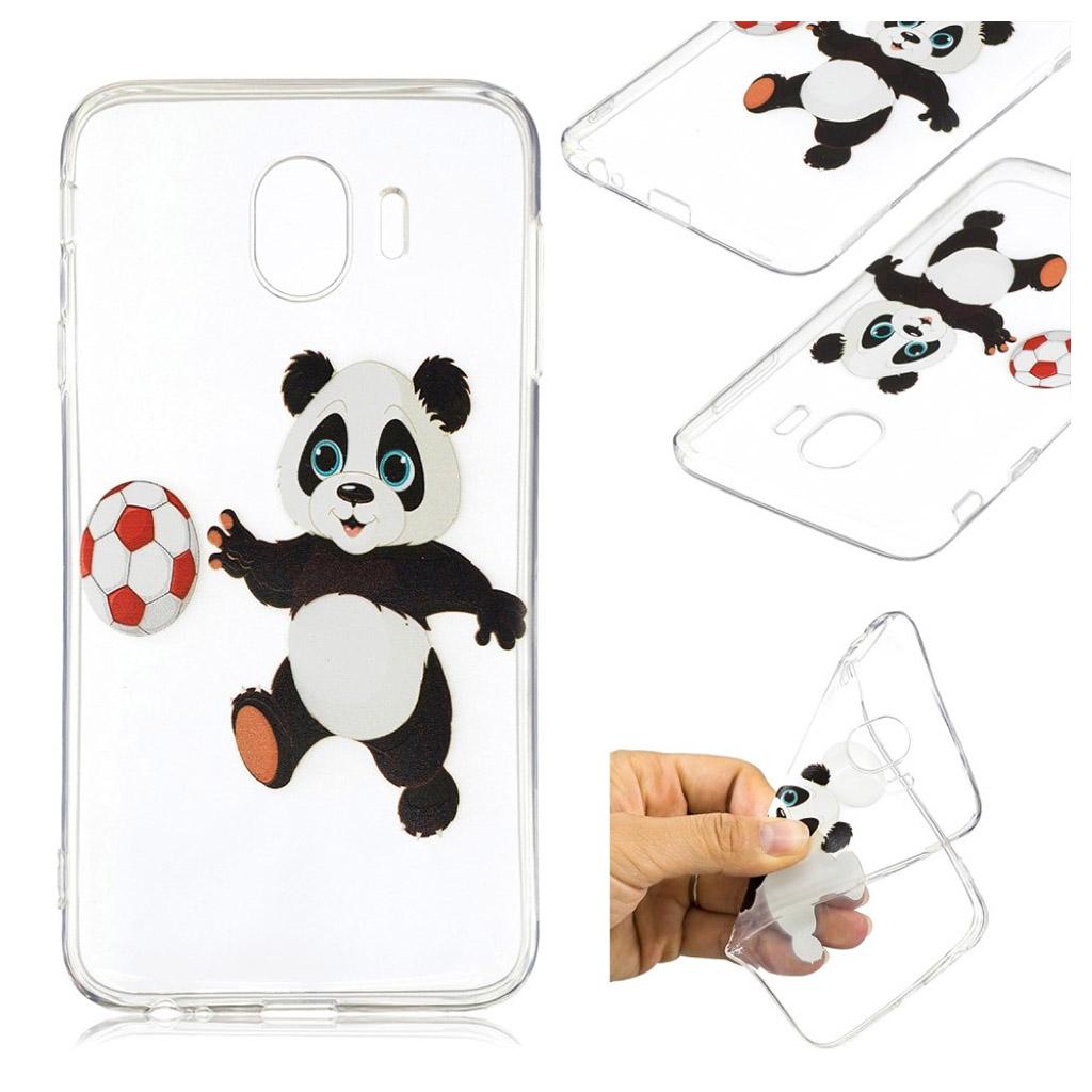 Samsung Galaxy J4 (2018) mønstret gele etui - Panda Spiller Fodbold