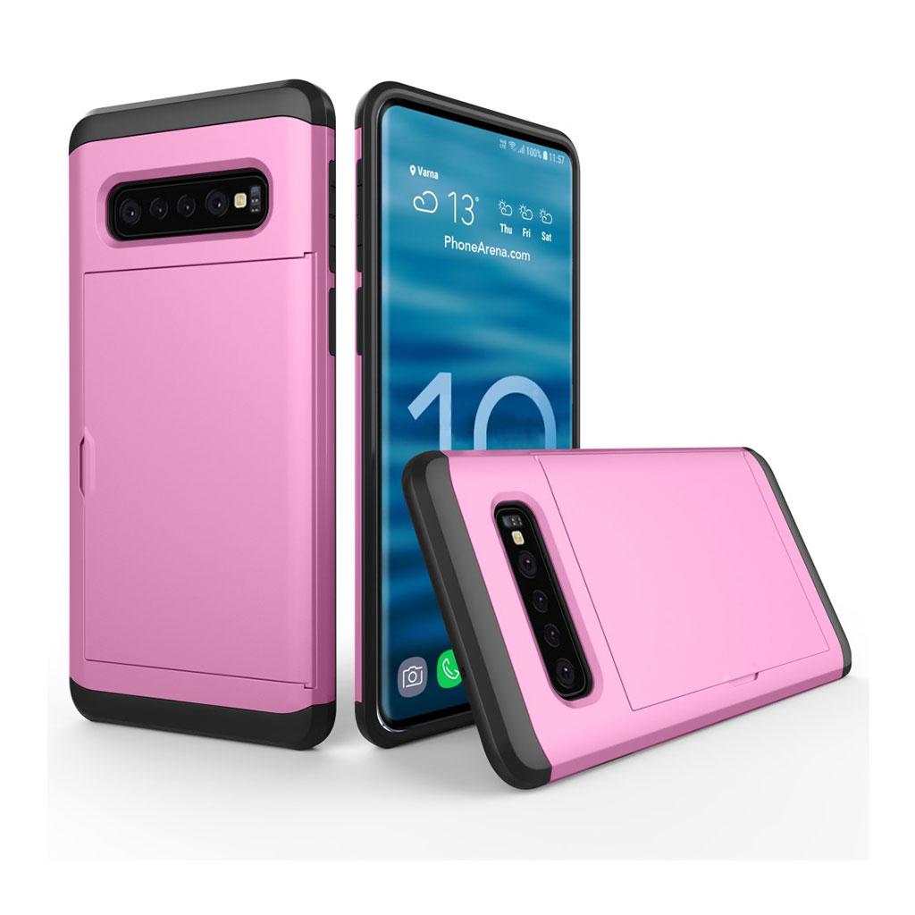 Samsung Galaxy S10 kortholder hybrid etui - Lyserød