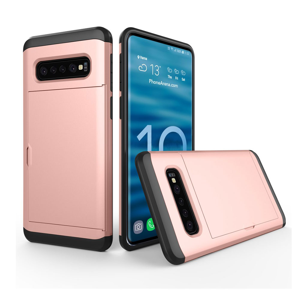 Samsung Galaxy S10 kortholder hybrid etui - Rosa Guld