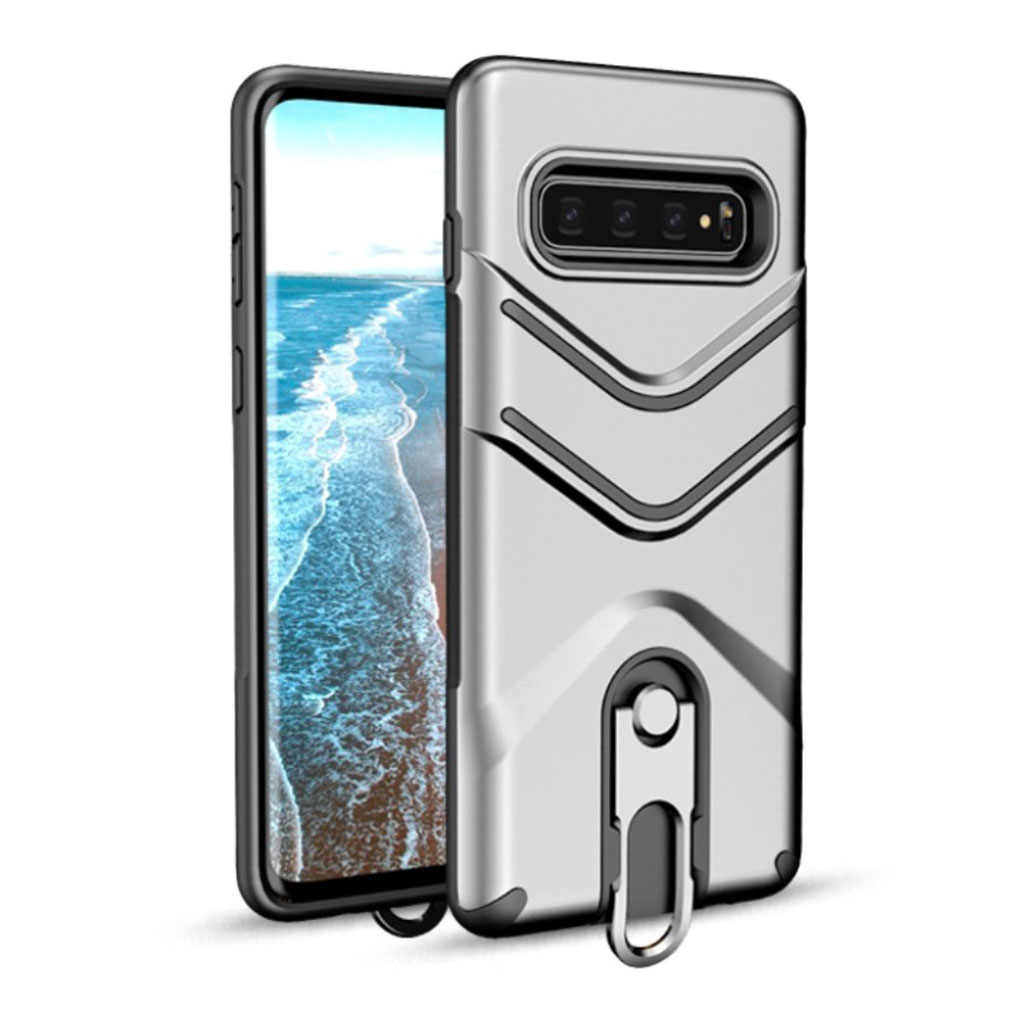 Samsung Galaxy S10 mat hybrid etui - Sølv