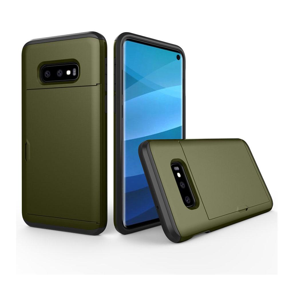 Samsung Galaxy S10e kortholder hybrid etui - Army Grøn