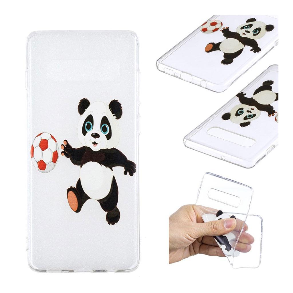 Samsung Galaxy S10 Plus trykt mønster etui - Panda spiller Fodbold