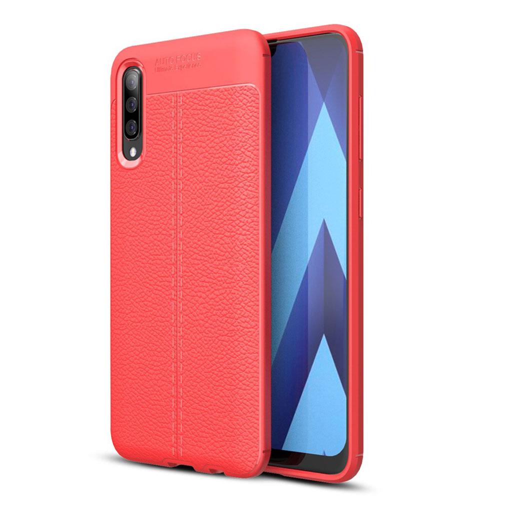 Samsung Galaxy A70 litchi skin leather case - Red