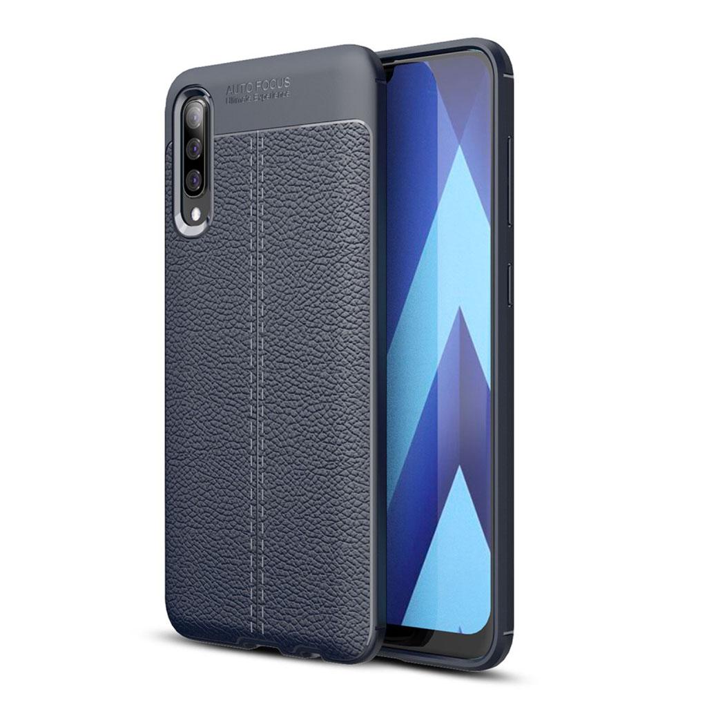 Samsung Galaxy A70 litchi skin leather case - Dark Blue