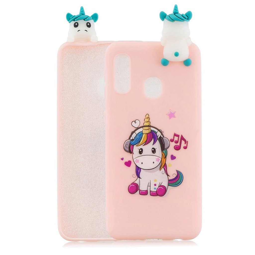 Cute 3D Samsung Galaxy A20e case - Unicorn Enjoying Music