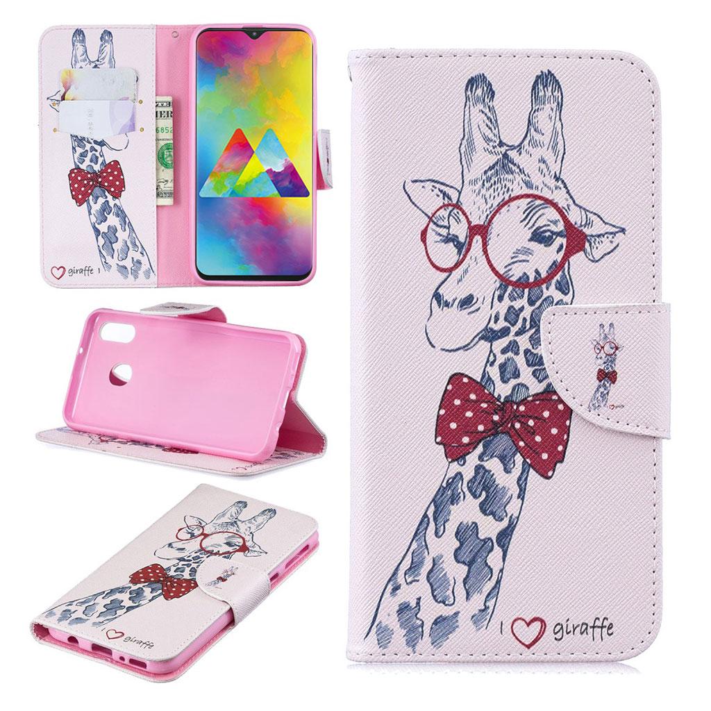 Wonderland Samsung Galaxy M20 etui - Giraf med Briller