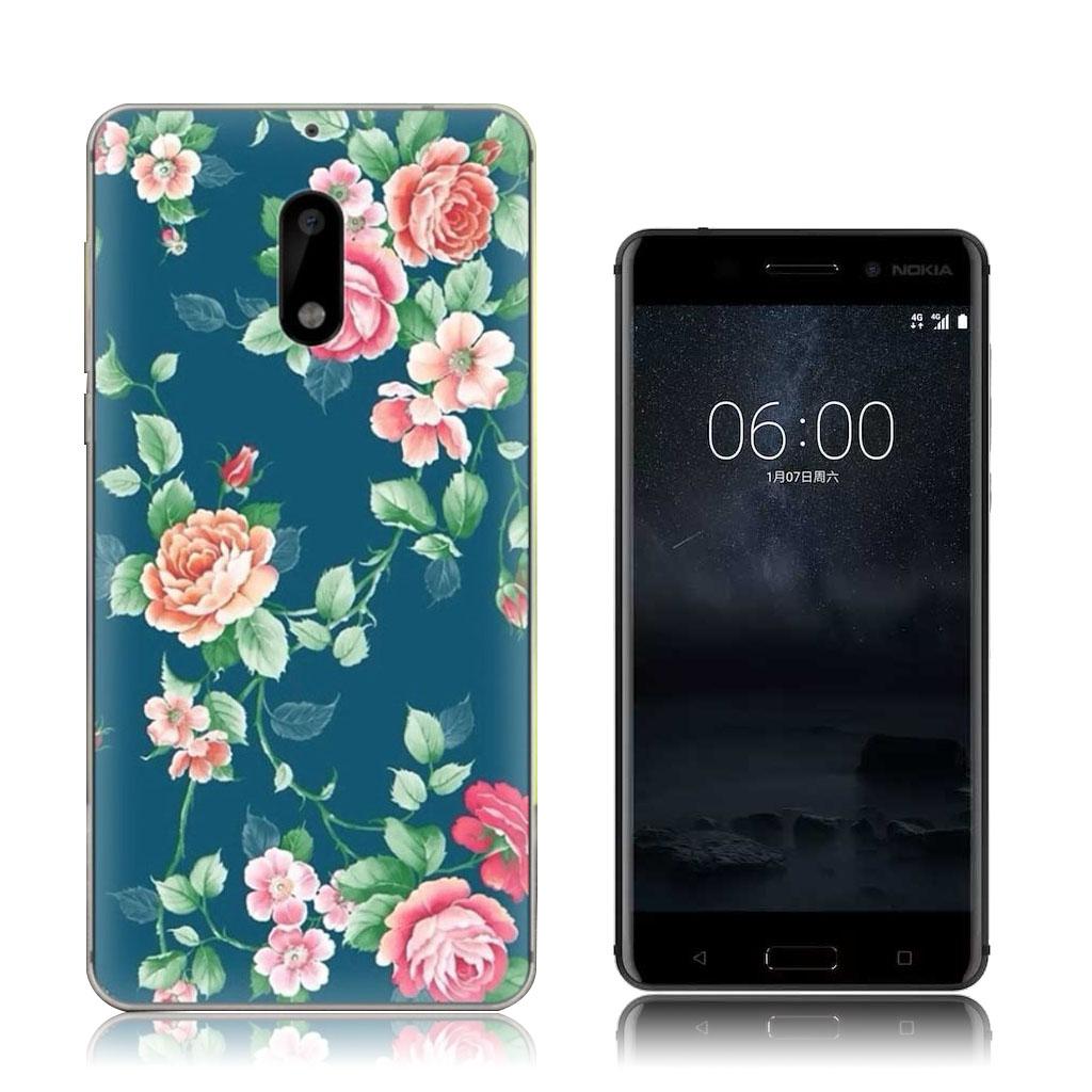 Nokia 6 beskyttende silikonecover - Blomstrende blomster