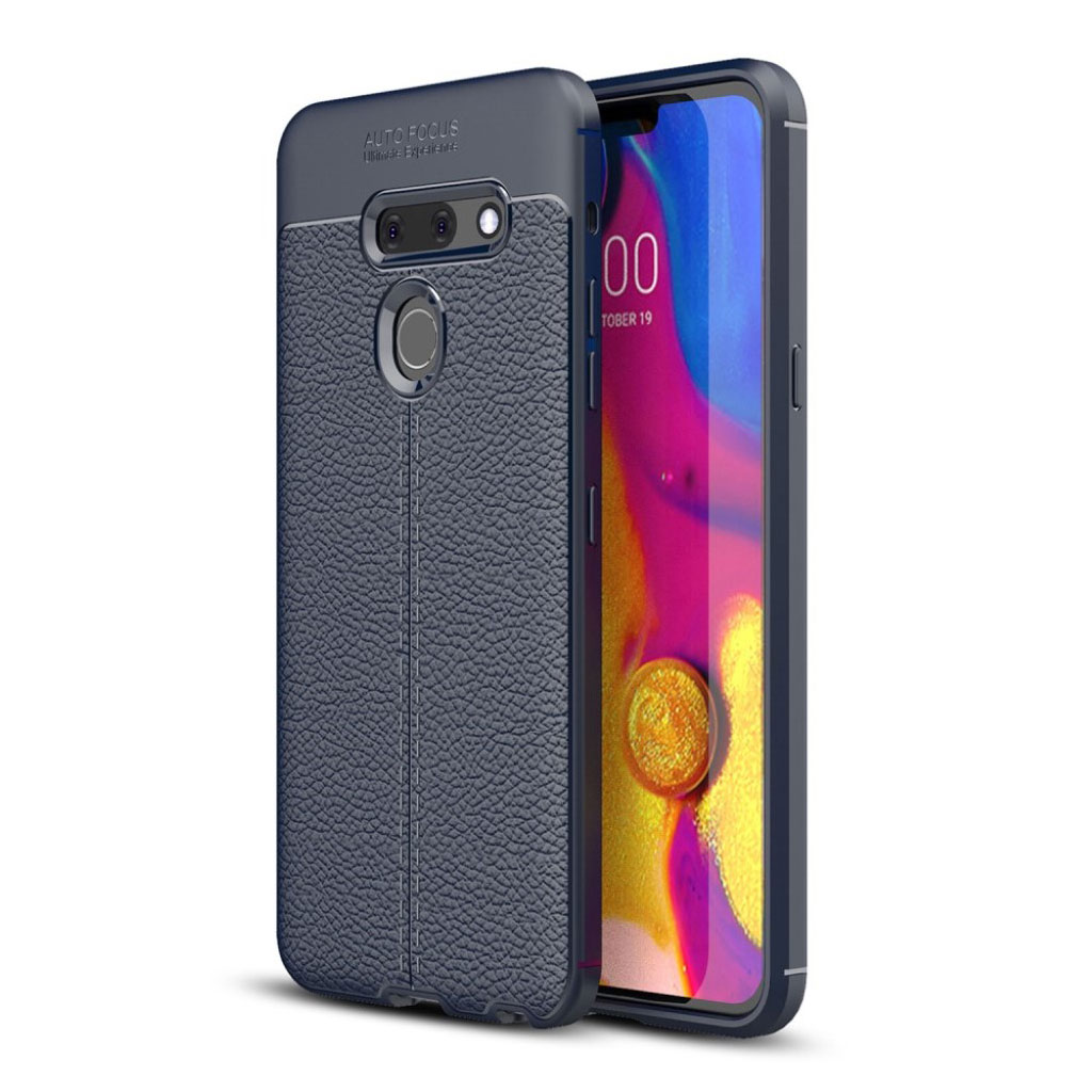 LG G8 ThinQ litchi etui - Mørkeblå