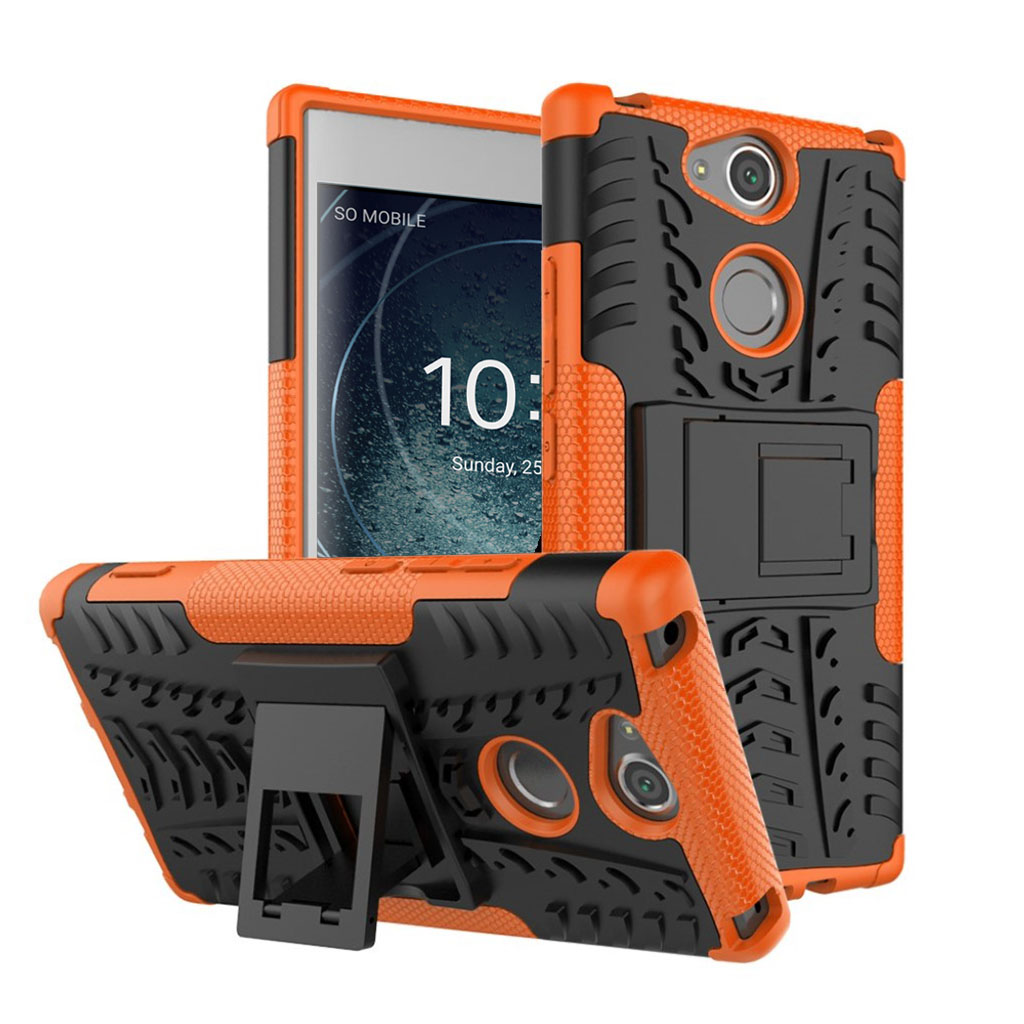 Sony Xperia XA2 beskyttelsesetui i kombi materialer med indbygget stativ - Orange