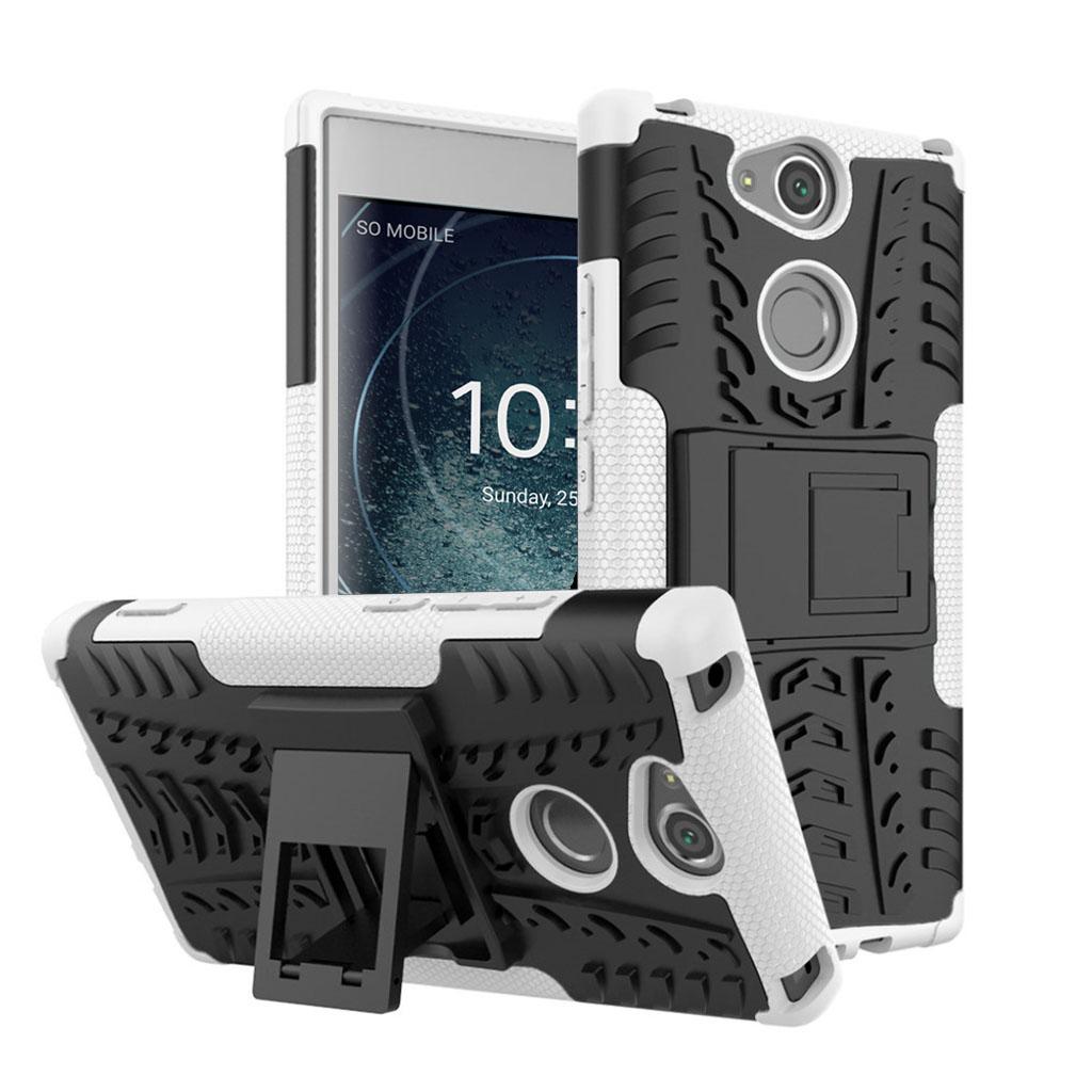 Image of   Sony Xperia XA2 beskyttelsesetui i kombi materialer med indbygget stativ - Hvid