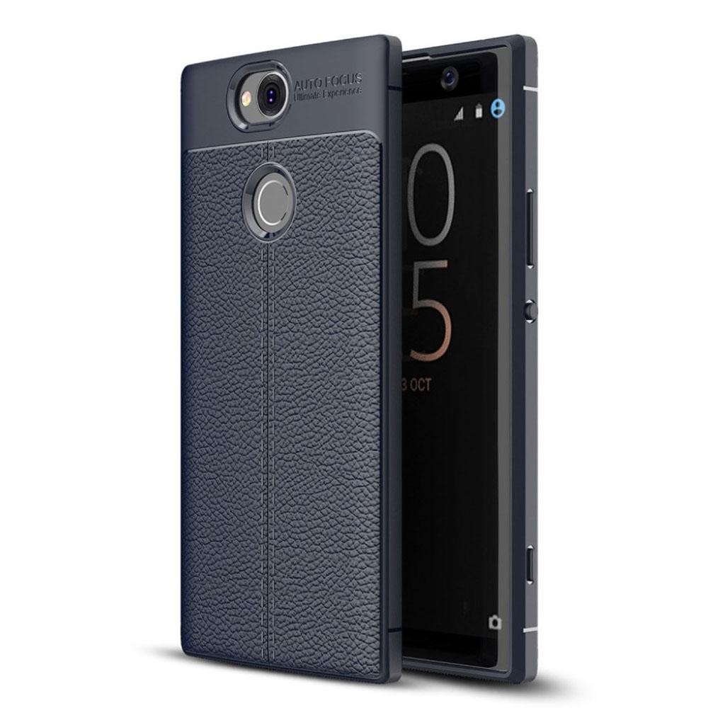 Sony Xperia XA2 Plus mobiletui i silikone med Litchi overfalde - Mørkeblå
