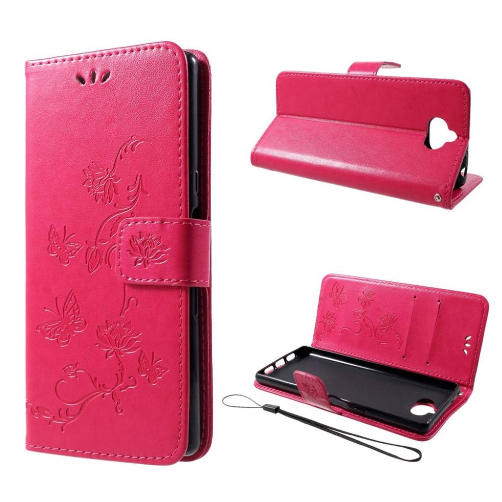 Sony Xperia 10 aftryk Sommerfugl læder etui - Rose