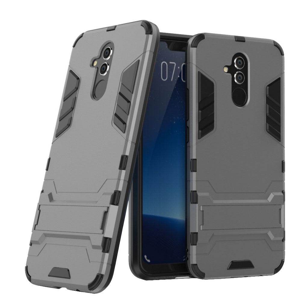 Huawei Mate 20 Lite beskyttelsesetui i kombimaterailer med stativ - Grå
