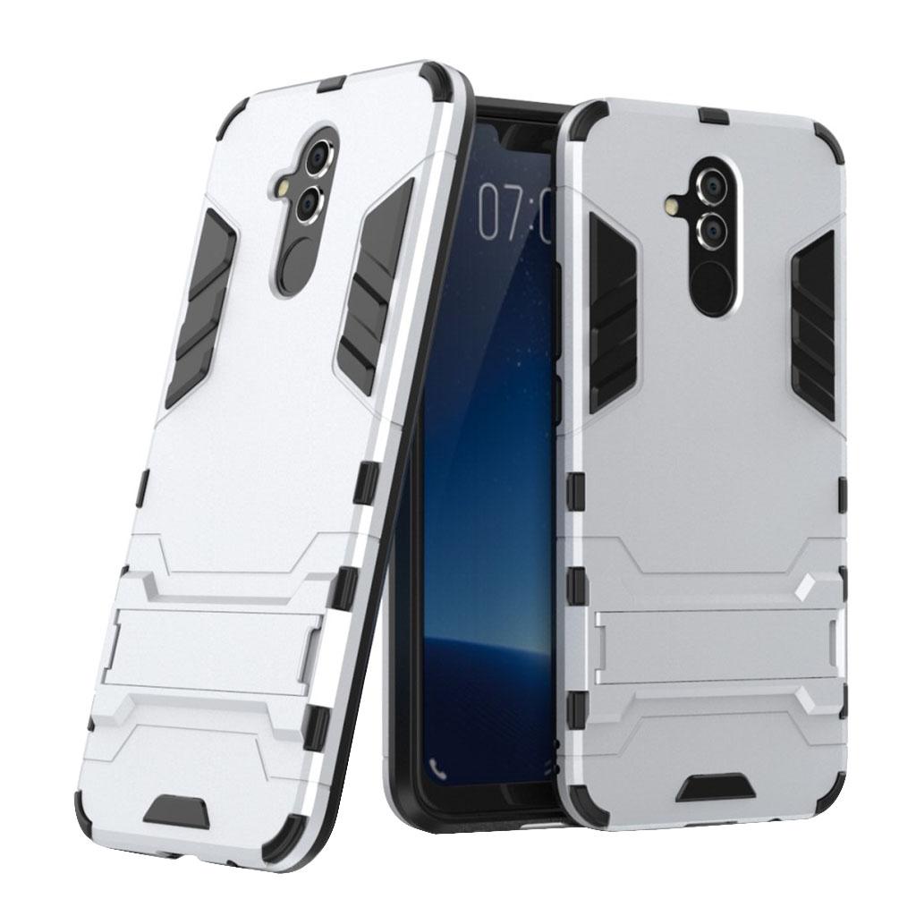 Huawei Mate 20 Lite beskyttelsesetui i kombimaterailer med stativ - Sølv