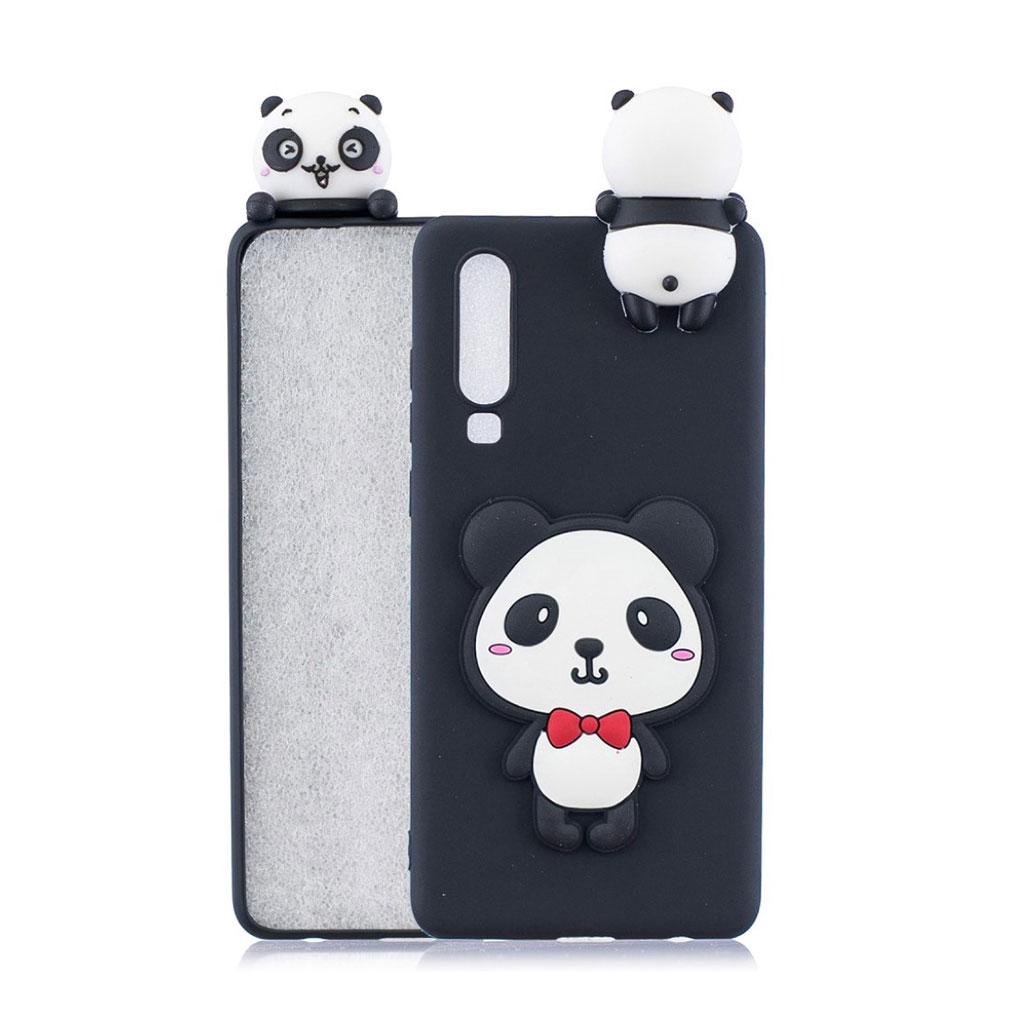 Huawei P30 3D mønster blødt etui - Panda med Rød Sløjfe