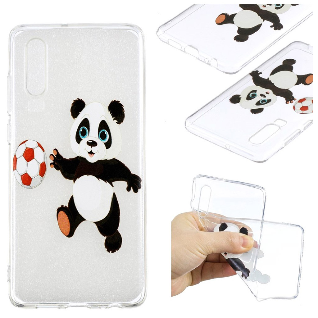 Huawei P30 mønstret fleksibelt etui - Panda Spiller Fodbold