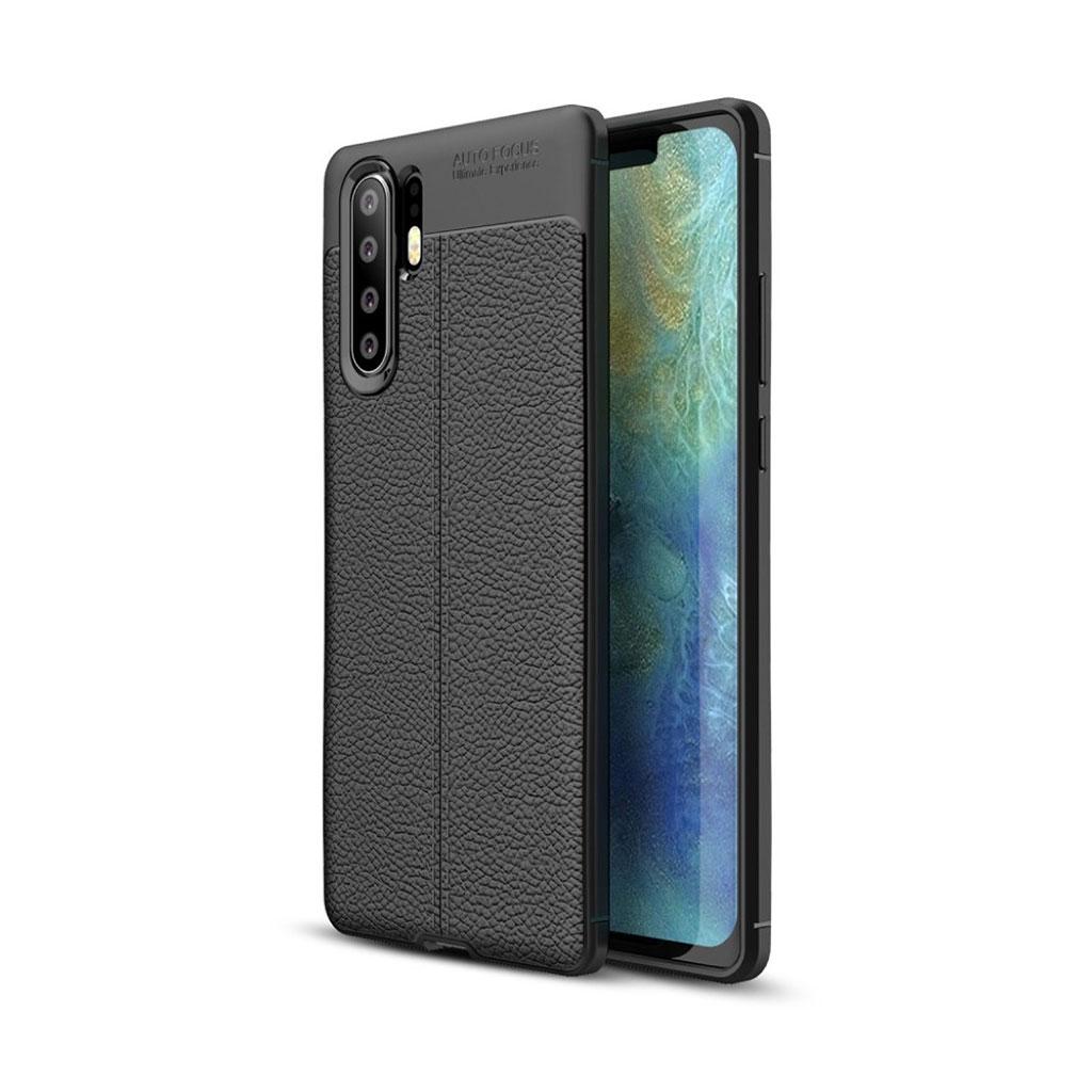 Huawei P30 Pro litchi tekstur etui - Sort