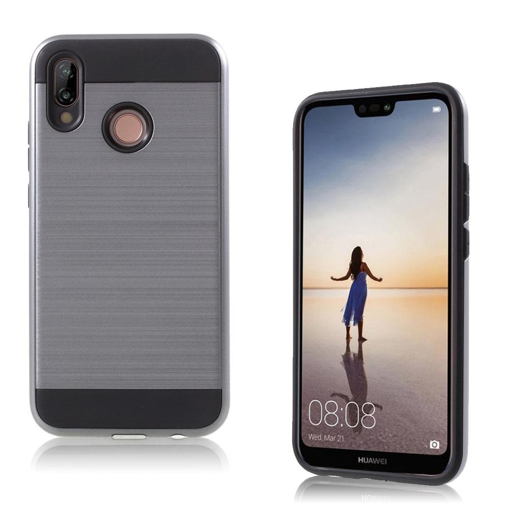 Huawei P20 Lite mobiletui i kombi materialer med børstet overfalde - Grå