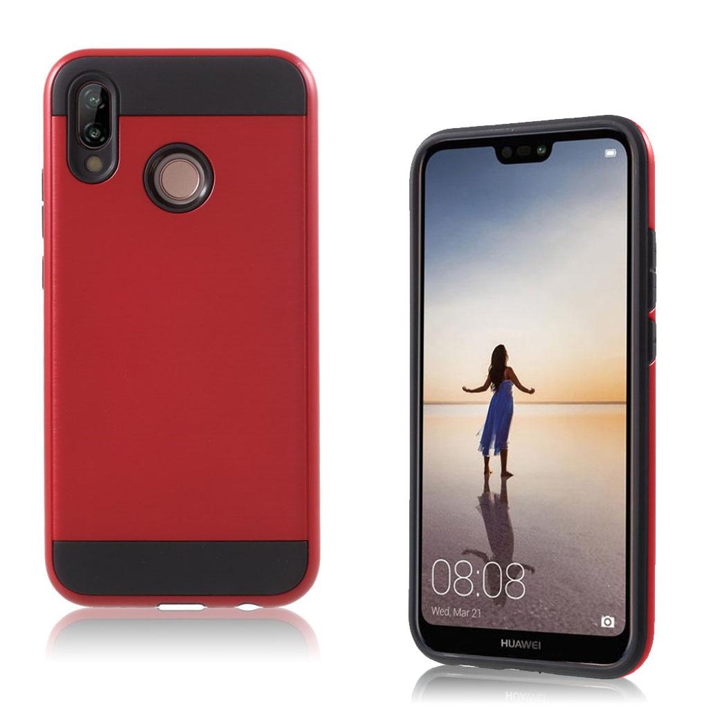 Huawei P20 Lite mobiletui i kombi materialer med børstet overfalde - Rød