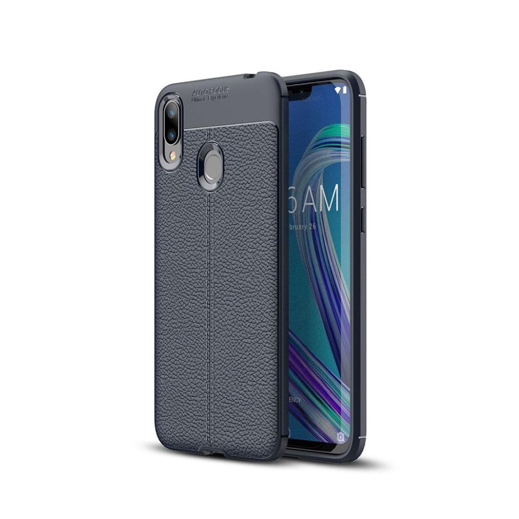 Asus ZenFone Max (M2) litchi etui - Mørkeblå