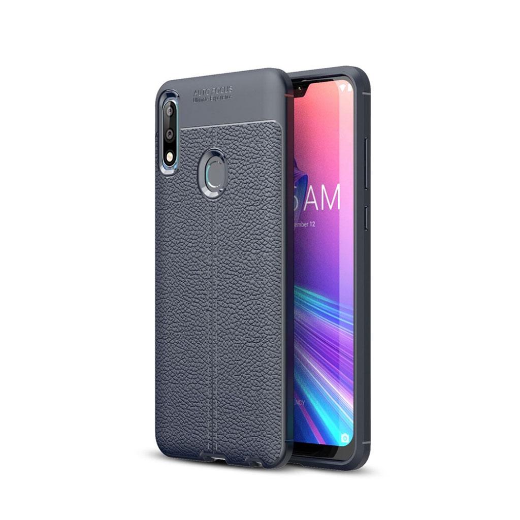 Asus ZenFone Max Pro (M2) litchi tekstur blødt etui - Mørkeblå