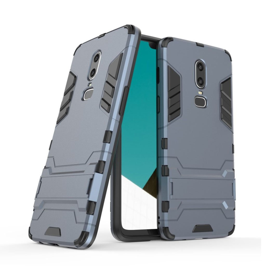 Image of   OnePlus 6 beskyttelsesetui i kombi materialer med indbygget stativ - Mørkeblå