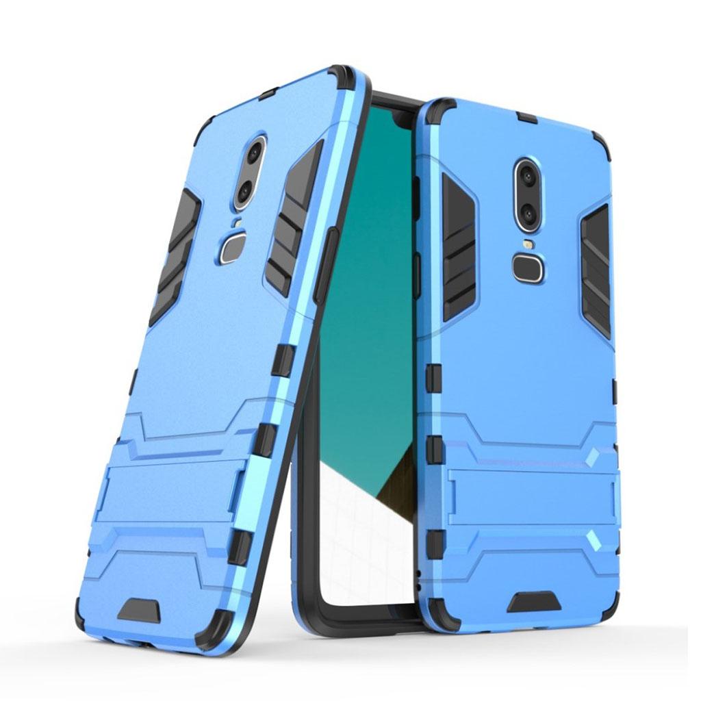 Image of   OnePlus 6 beskyttelsesetui i kombi materialer med indbygget stativ - Baby Blå