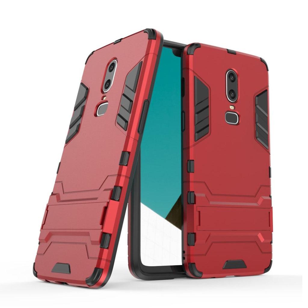 OnePlus 6 beskyttelsesetui i kombi materialer med indbygget stativ - Rød