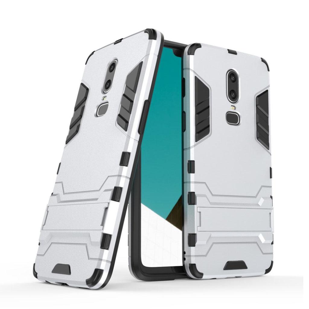 Image of   OnePlus 6 beskyttelsesetui i kombi materialer med indbygget stativ - Sølv