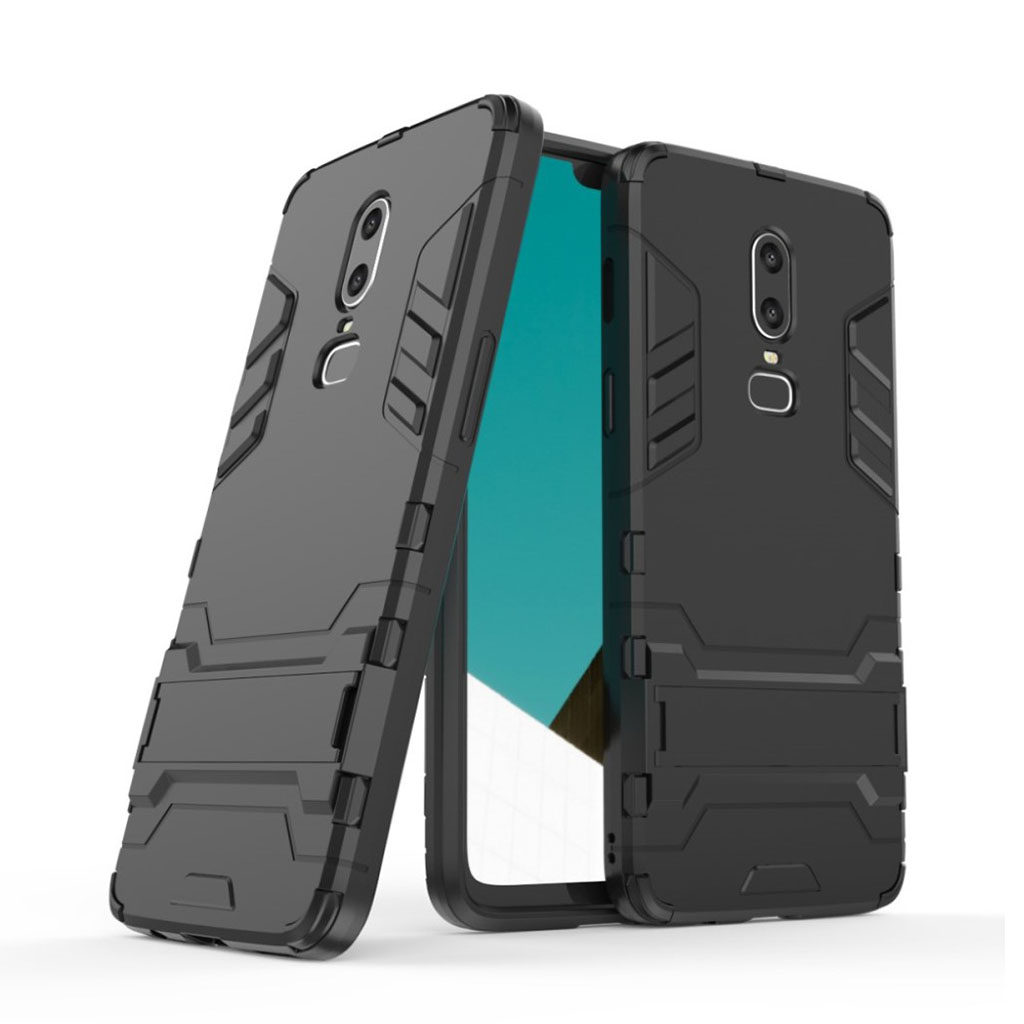 OnePlus 6 beskyttelsesetui i kombi materialer med indbygget stativ - Sort