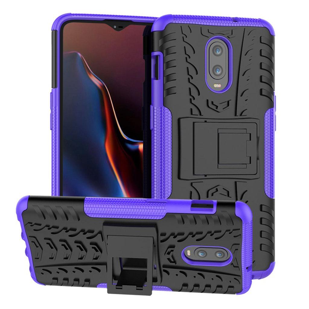 OnePlus 6T beskyttelsesetui i kombimaterialer med dækmønster - Lilla