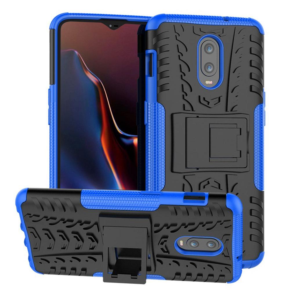 OnePlus 6T beskyttelsesetui i kombimaterialer med dækmønster - Blå