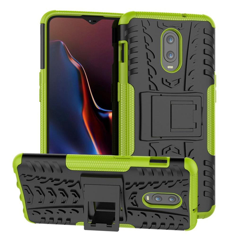 OnePlus 6T beskyttelsesetui i kombimaterialer med dækmønster - Grøn