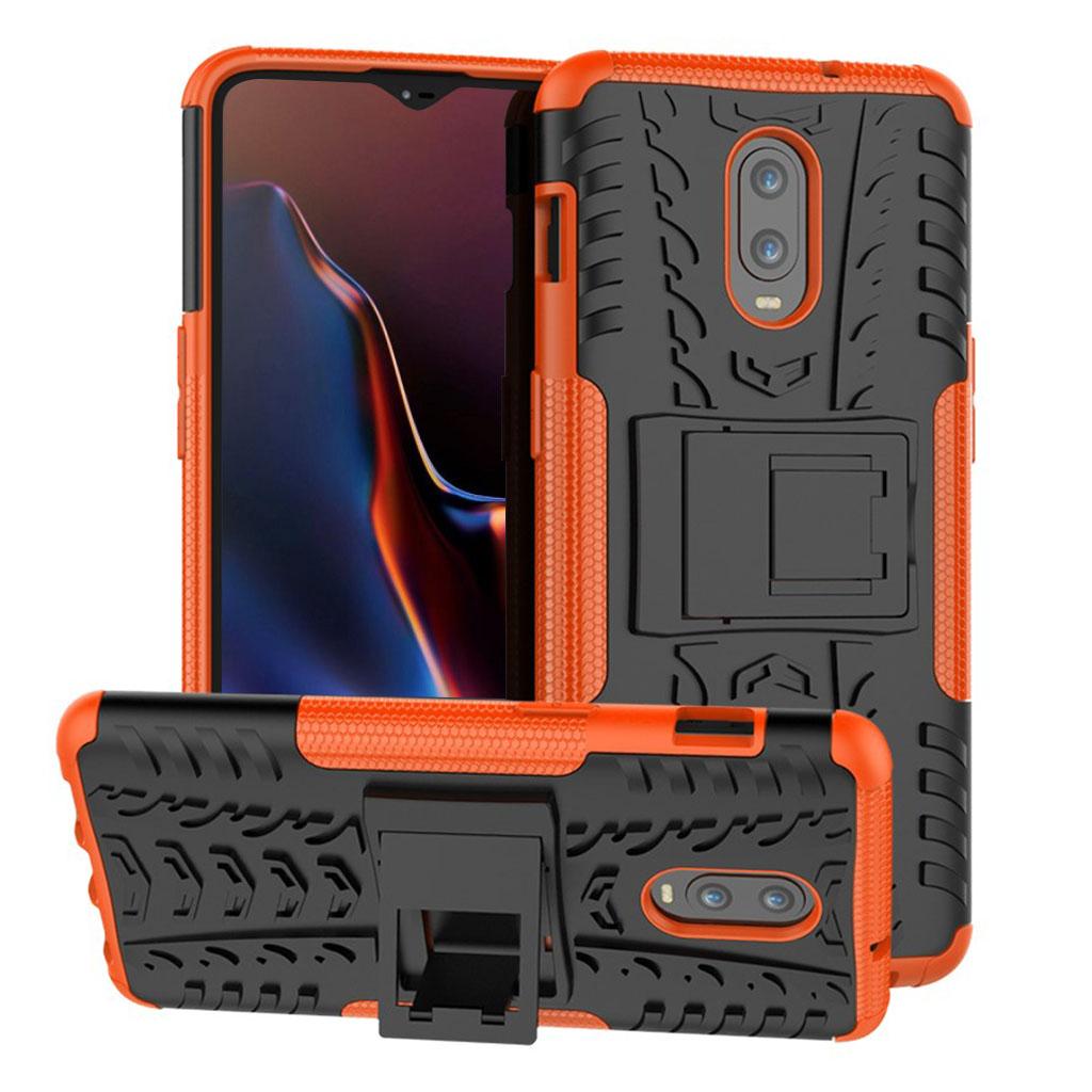 OnePlus 6T beskyttelsesetui i kombimaterialer med dækmønster - Orange