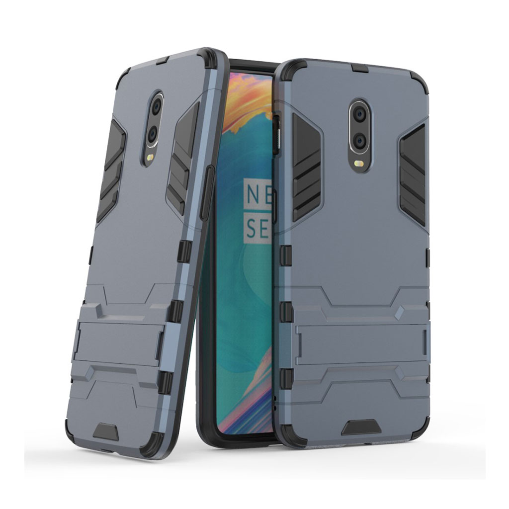 OnePlus 6T beskyttelsesetui i kombimaterialer med indbygget stativ - Mørkeblå
