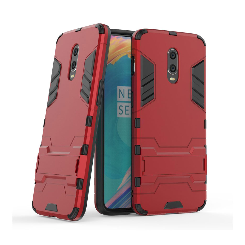 OnePlus 6T beskyttelsesetui i kombimaterialer med indbygget stativ - Rød