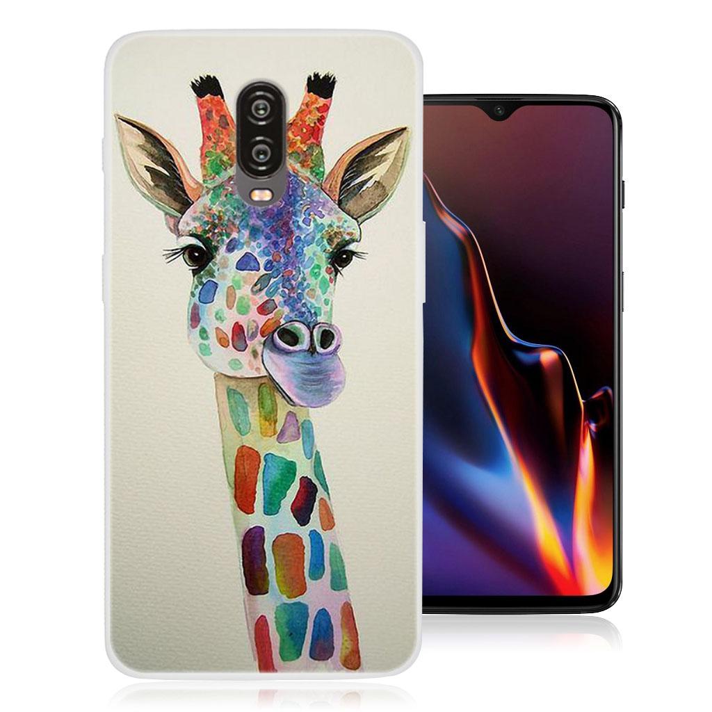OnePlus 6T beskyttelsesetui i silikone med mønster - Giraf